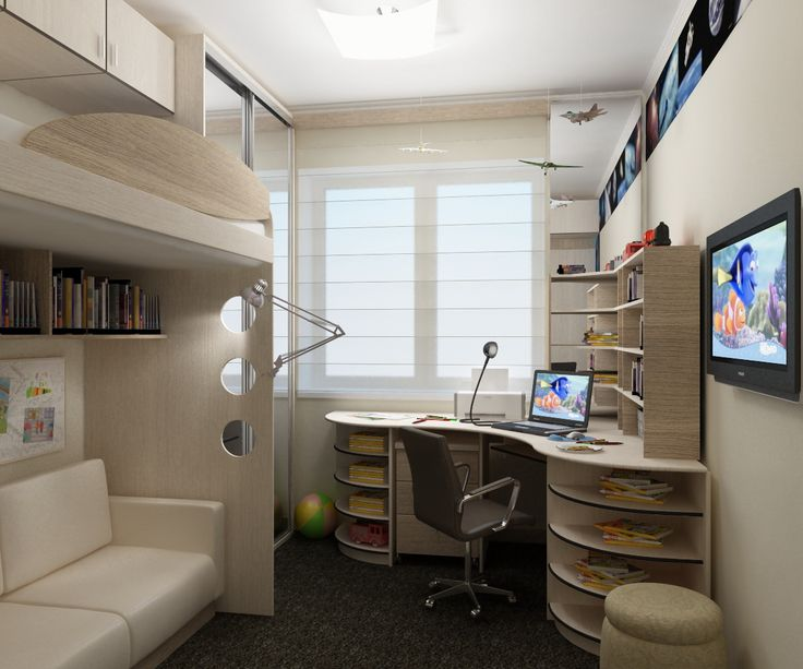 Рабочее место школьника в узкой детской комнате