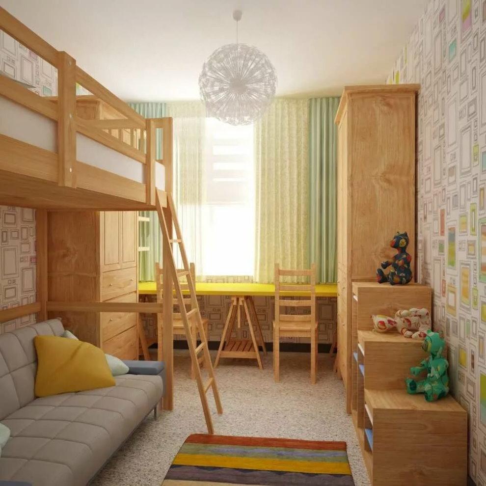 Деревянная мебель в маленькой комнате для двоих детей
