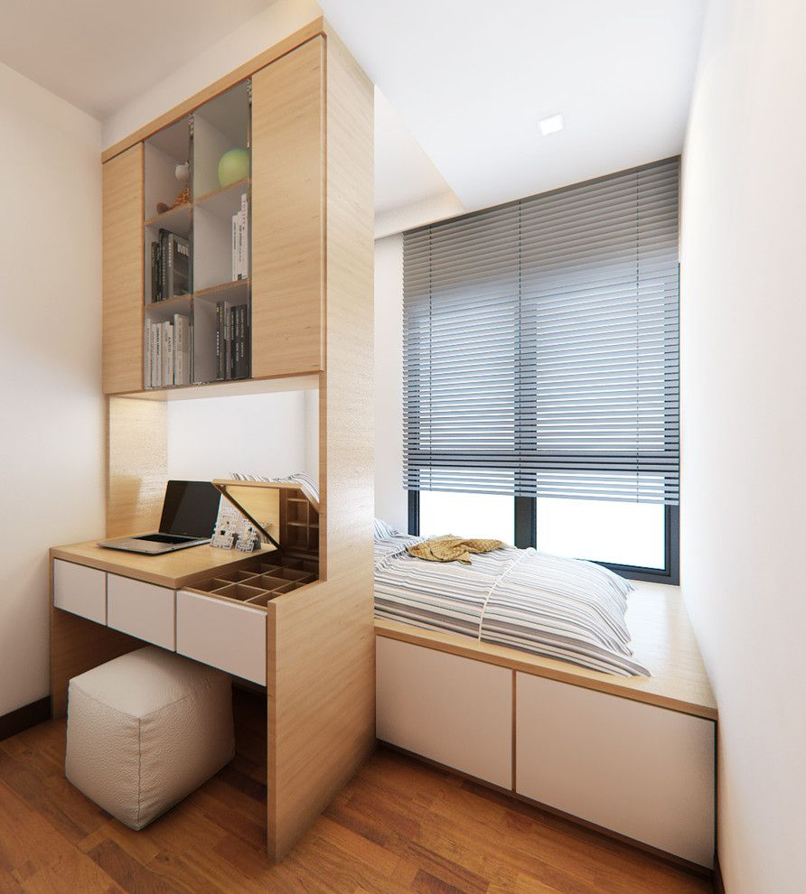 Кровать на подиуме в маленькой квартире