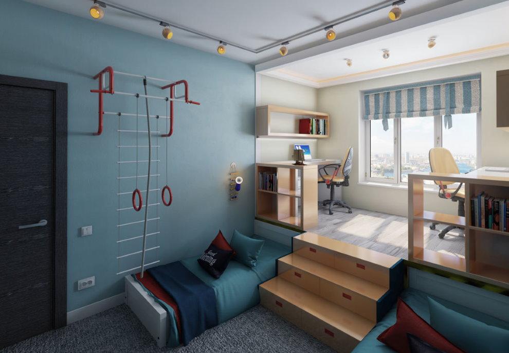 Выдвижные кровати в подиуме детской комнаты