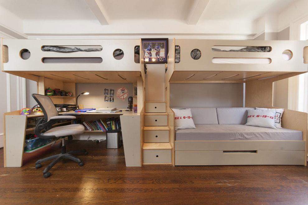 Кровать чердак в комнате современного стиля