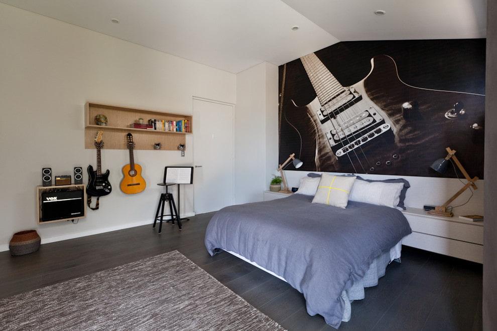 Фотообои с гитарой в спальне юного любителя музыки