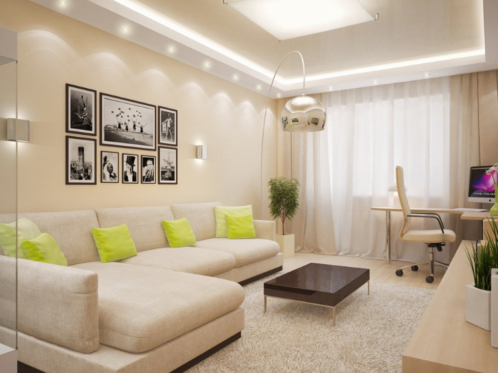 Свет в зале с угловым диваном
