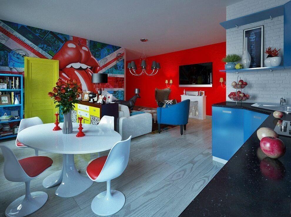 Яркие фотообои в кухне-гостиной стиля поп-арт