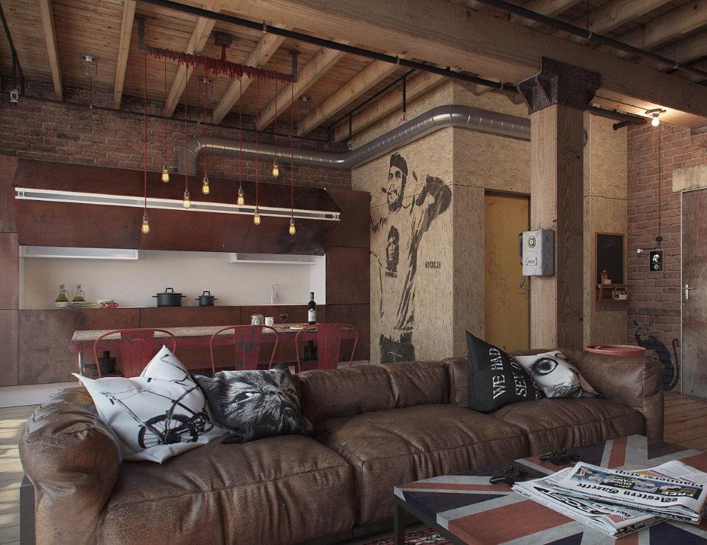 Кожаный диван в кухне-гостиной стиля лофт