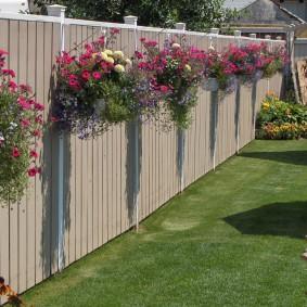 Кашпо с цветами на деревянном заборе