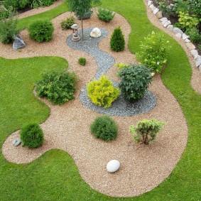 Декоративная засыпка садовой клумбы с шаровидными туями