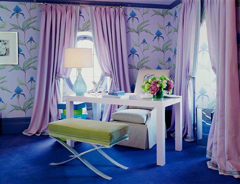 Лавандовые шторы в интерьере детской комнаты