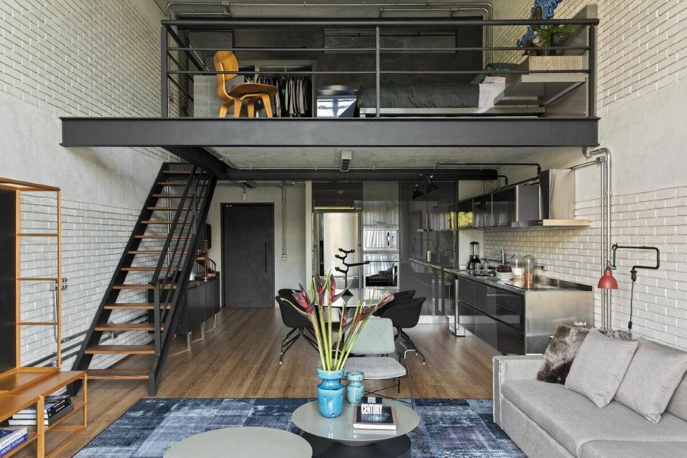 Дизайн гостиной в два уровня в стиле лофт