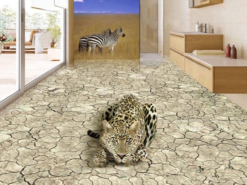 Линолеум с 3d печатью на полу комнаты