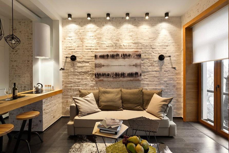 Светлая гостиная 18 кв м в стиле лофт