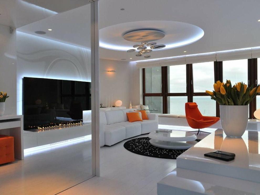 Зонирование гостиной в стиле хай-тек осветительными приборами