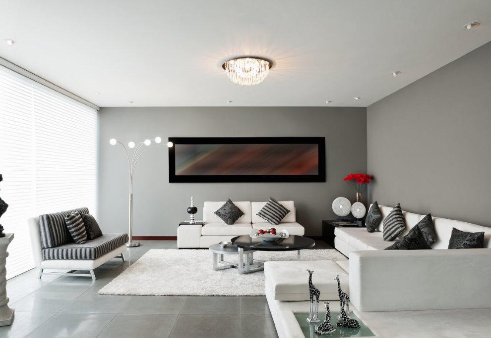 Люстра в интерьере зала стиля минимализма