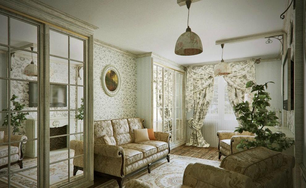 Меблировка небольшого зала в стиле прованса