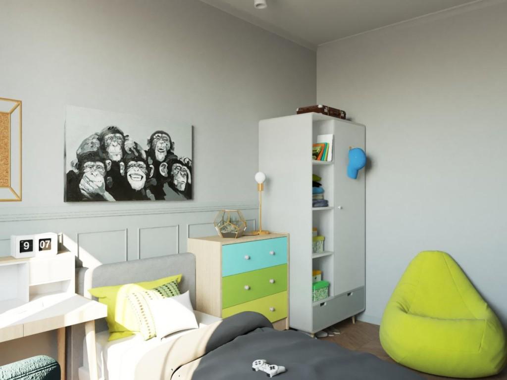 Бескаркасное кресло в светлой детской комнате