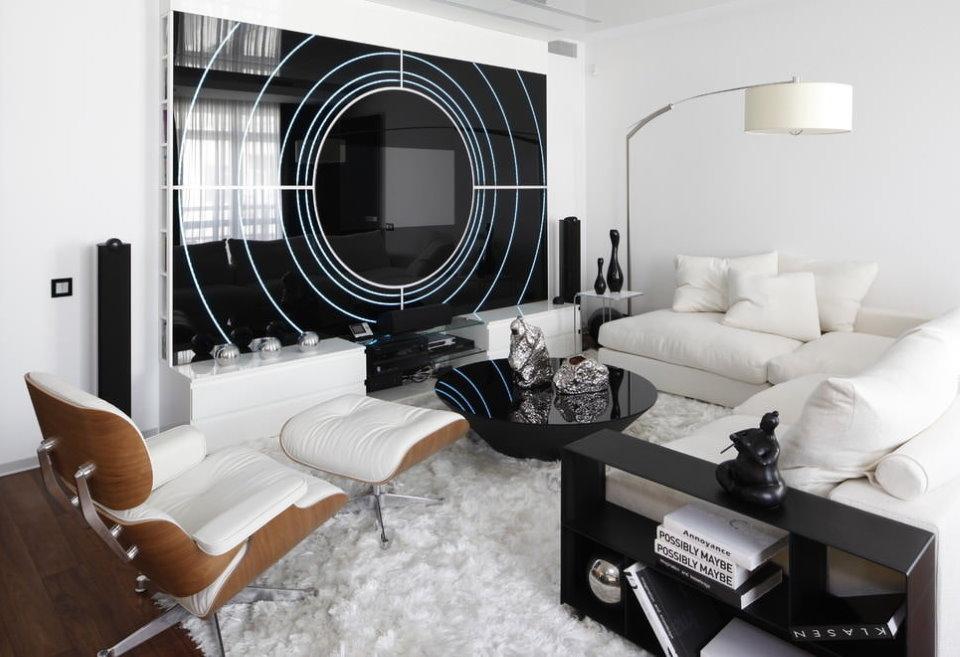 Белая мебель в гостиной стиля хай-тек