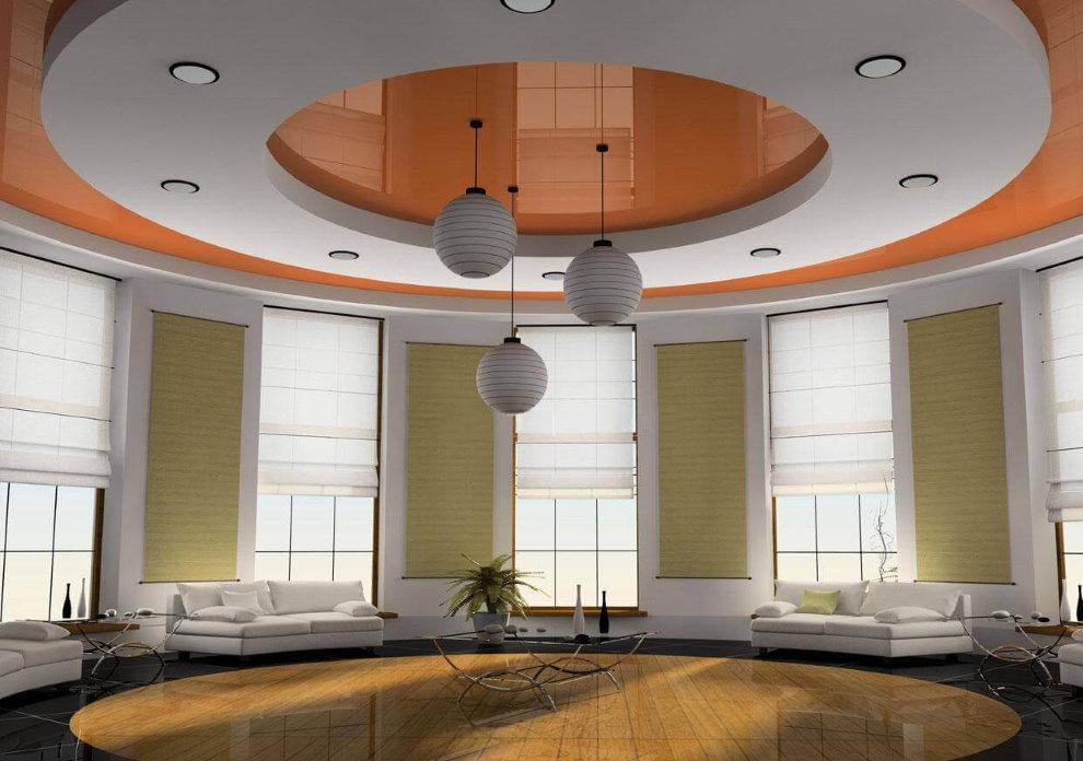 Двухуровневый потолок комбинированного типа в большом зале