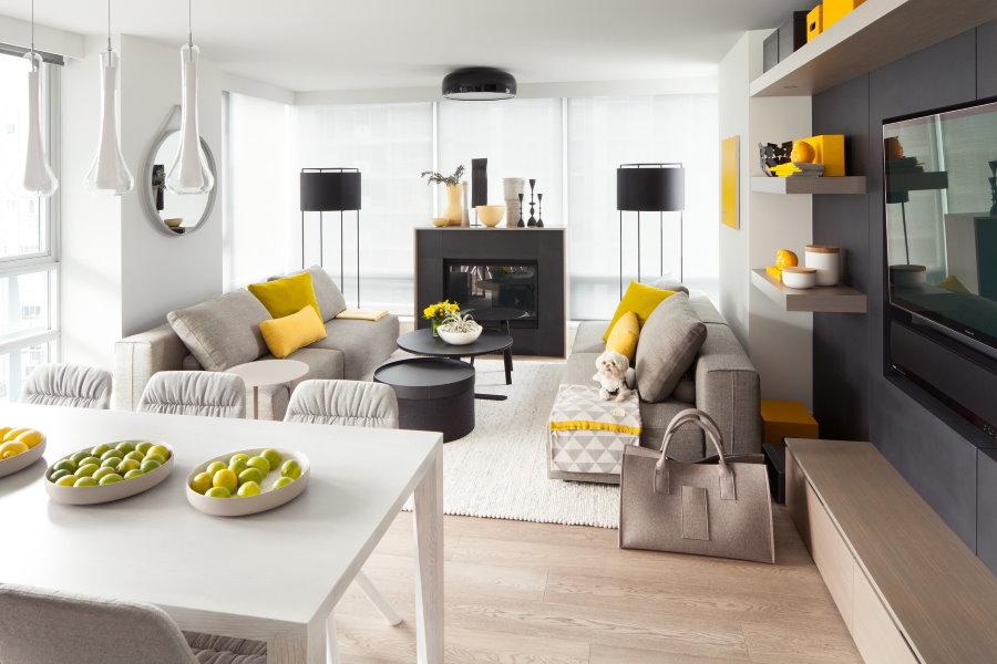 Акценты желтого цвета в квартире стиля модерн