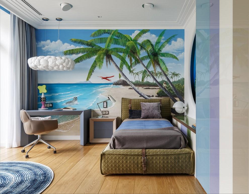 Обои с пальмами в детской комнате морского стиля