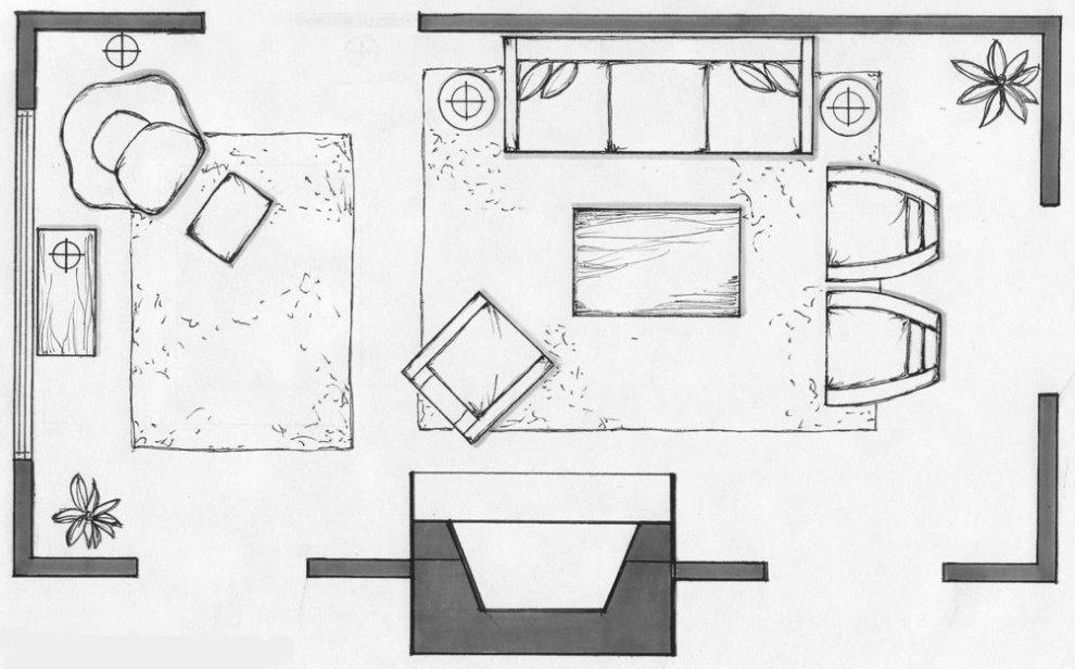 Схема расстановки мебели в прямоугольном зале с камином