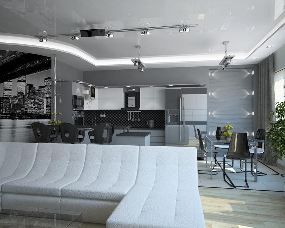 Глянцевый натяжной потолок в зале стиля хай-тек