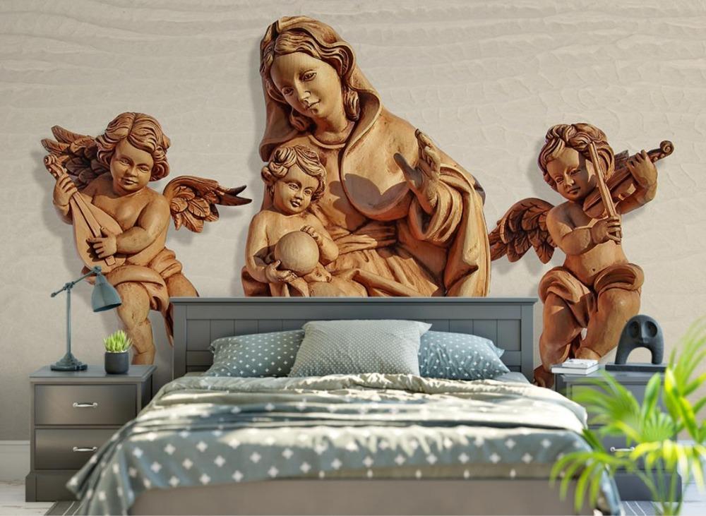 Обои с ангелами над изголовьем кровати для подростка
