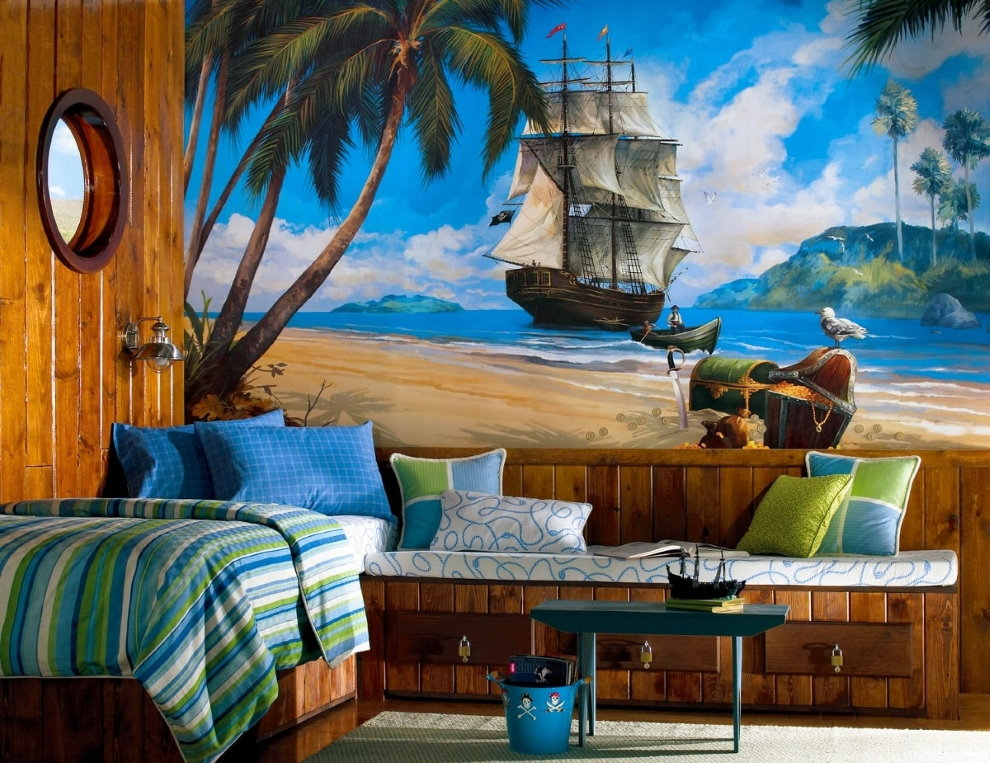 Детская кровать в комнате морского стиля