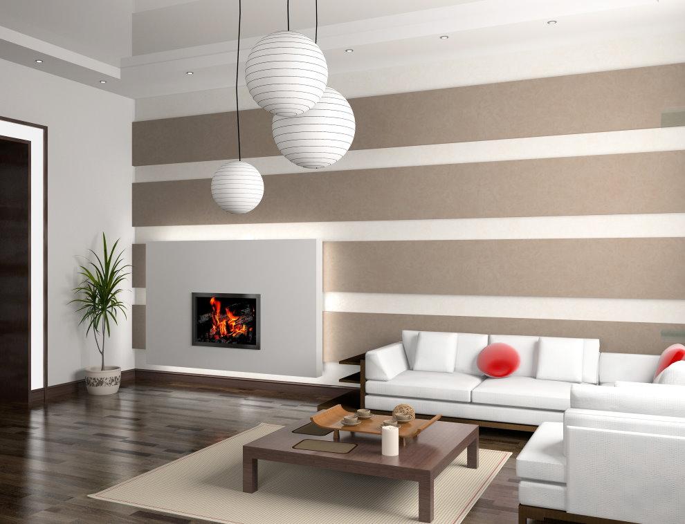 Интерьер современного зала с бумажными обоями
