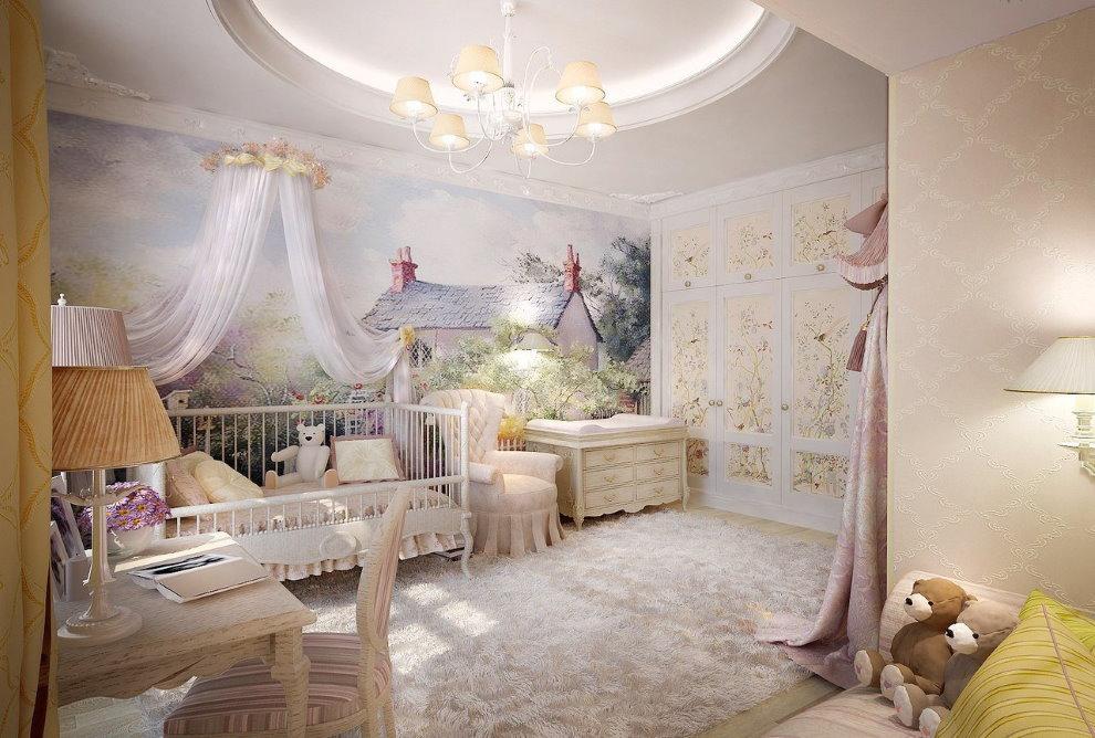 Интерьер детской комнаты в стиле прованс с фотообоями
