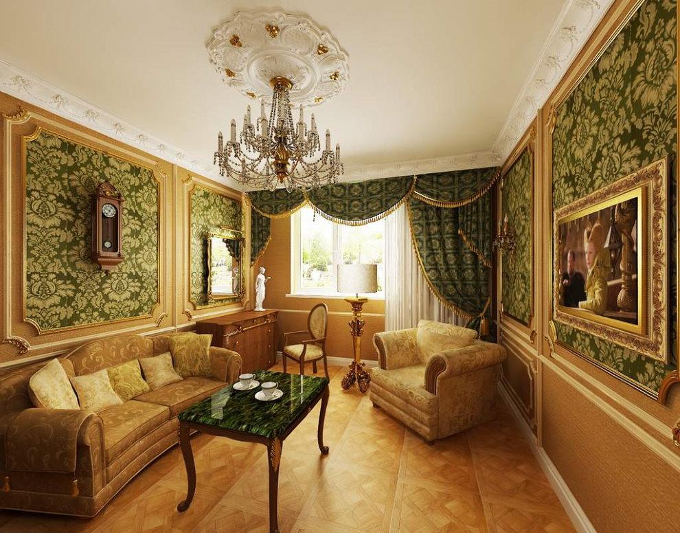 Небольшой зал в стиле барокко в двухкомнатной квартире