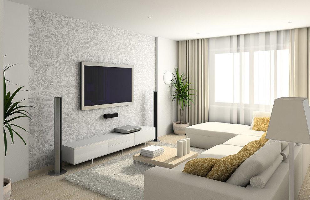 Зонирование бумажными обоями зала в квартире