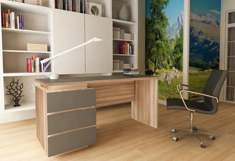 Офисный рабочий стол с серыми ящиками