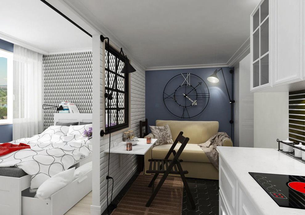 Дизайн однокомнатной квартиры 17 квадратов