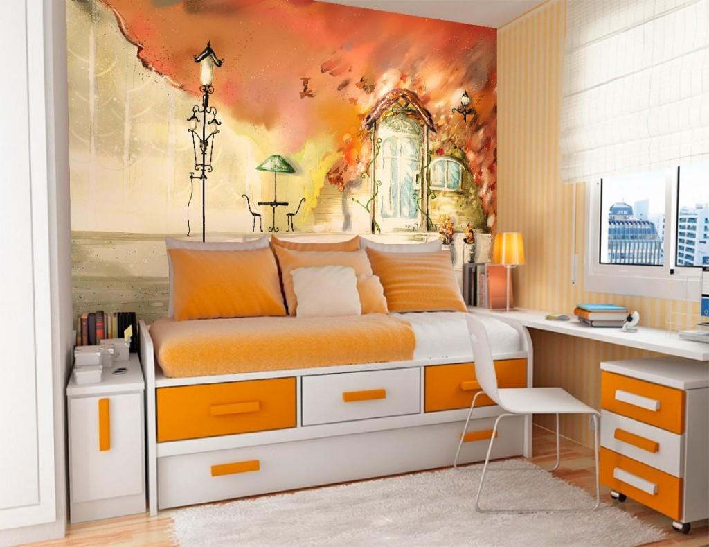 Оранжевый цвет в интерьере девчоночкой комнаты