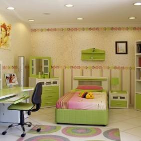 Зеленая мебель в детской комнате