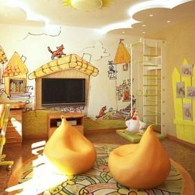 Бескаркасные кресла на полу детской комнаты