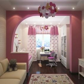 Розовая перегородка в комнате девочки