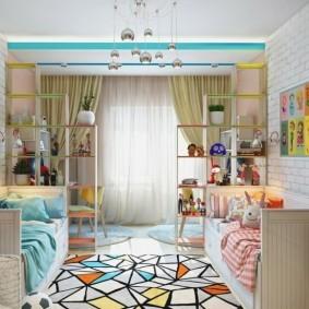 Зонирование детской комнаты открытыми стеллажами