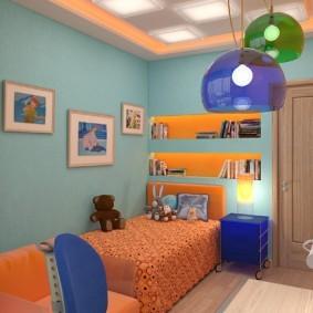 Синие акценты в дизайне комнаты для мальчика