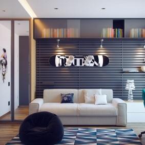 Дизайн комнаты для подростка в серых тонах