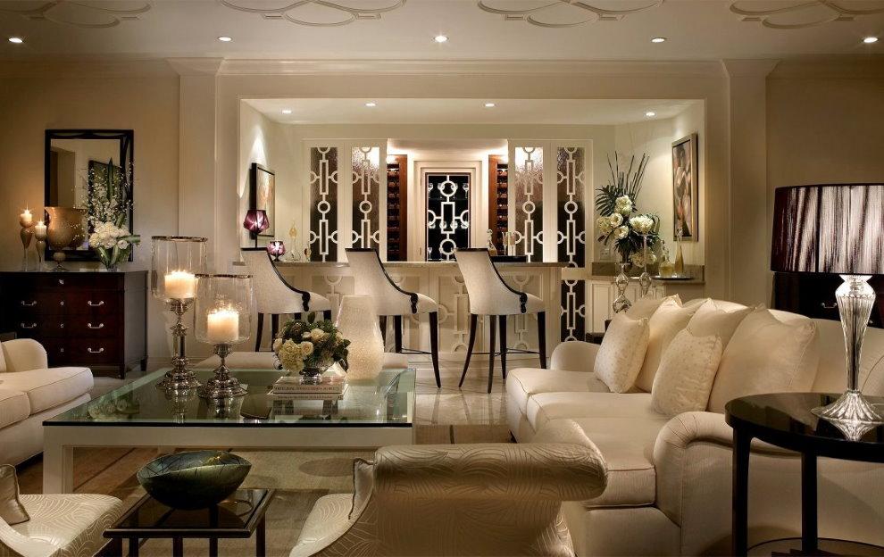 Освещение гостиной комнаты в стиле модерн