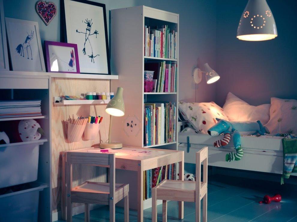 Раздельное освещение зон в детской комнате
