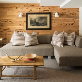 Серый диван угловой формы