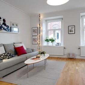 Отделка стен в гостиной скандинавского стиля