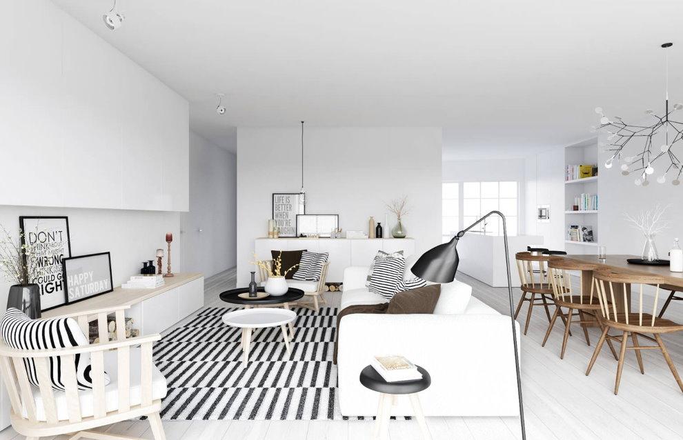 Белый потолок в квартире-студии скандинавского стиля