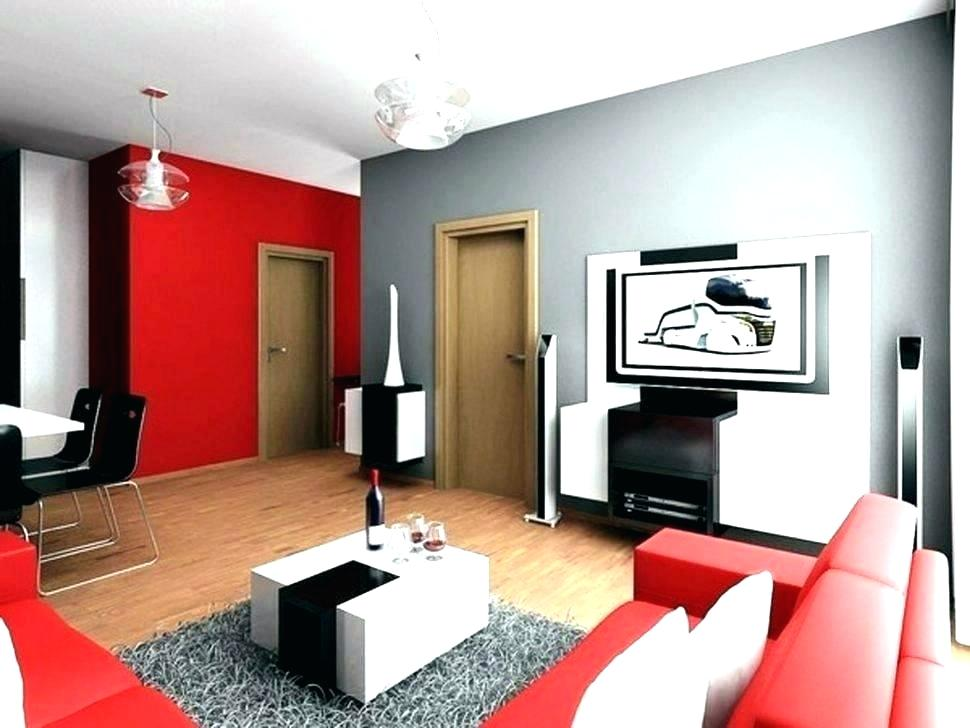 Красно-серый интерьер гостиной комнаты