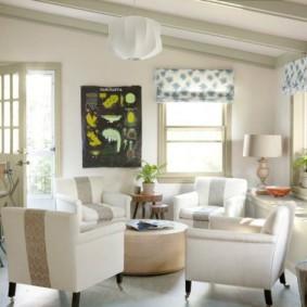 пастельный дизайн маленького зала