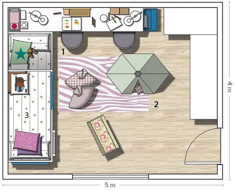 Схема планировки детской комнаты для девочки-школьницы
