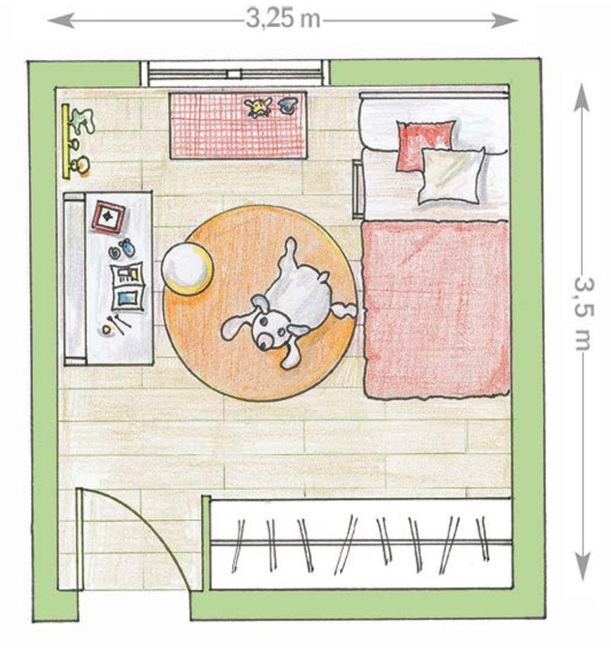 Чертеж комнаты для мальчика дошкольного возраста