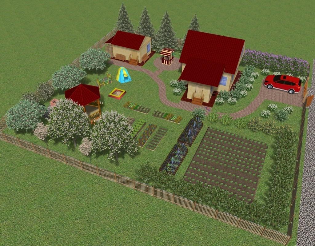 План участка с домом и парковкой для автомобиля